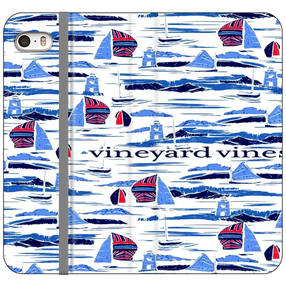 Vineyard Vines Boat Art iPhone 5|5S|SE Flip Case | Frostedcase