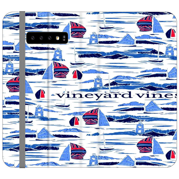 Vineyard Vines Boat Art Samsung Galaxy S10 Plus Flip Case | Frostedcase