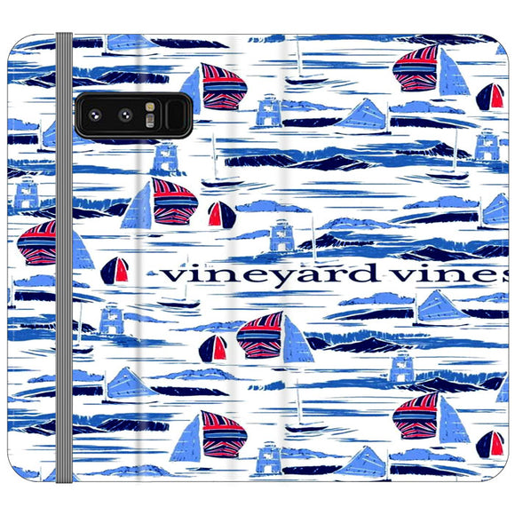 Vineyard Vines Boat Art Samsung Galaxy Note 8 Flip Case | Frostedcase