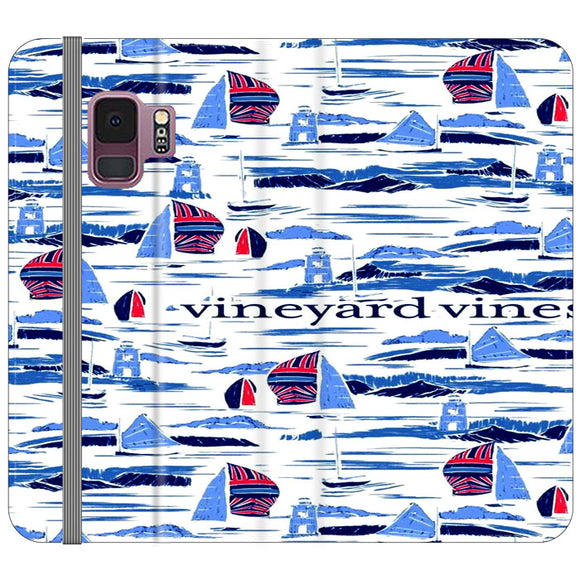 Vineyard Vines Boat Art Samsung Galaxy S9 Flip Case | Frostedcase