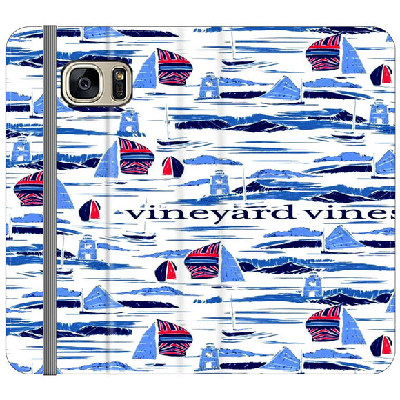 Vineyard Vines Boat Art Samsung Galaxy S7 EDGE Flip Case | Frostedcase