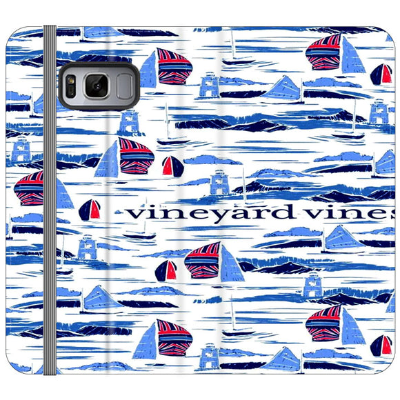 Vineyard Vines Boat Art Samsung Galaxy S8 Plus Flip Case | Frostedcase