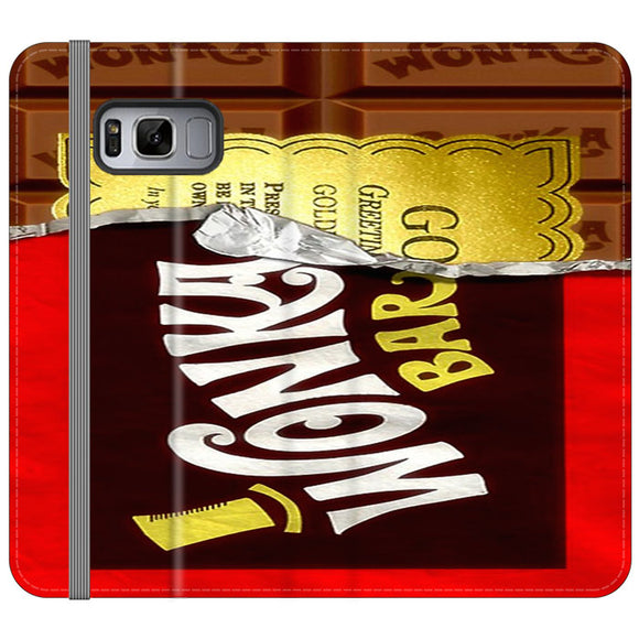 Willy Wonka Chocolate Golden Ticket Samsung Galaxy S8 Flip Case | Frostedcase