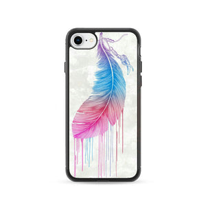 Blue And Pink Feather iPhone 8 Case | Frostedcase