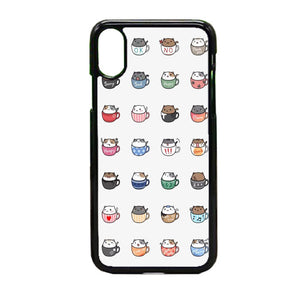 Cats In Cups Drawing iPhone X Case | Frostedcase