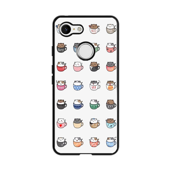 Cats In Cups Drawing Google Pixel 3 Case | Frostedcase