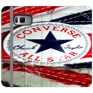 Converse All Star Chuck Taylor Red And Blue Flag Samsung Galaxy S8 Plus Flip Case | Frostedcase