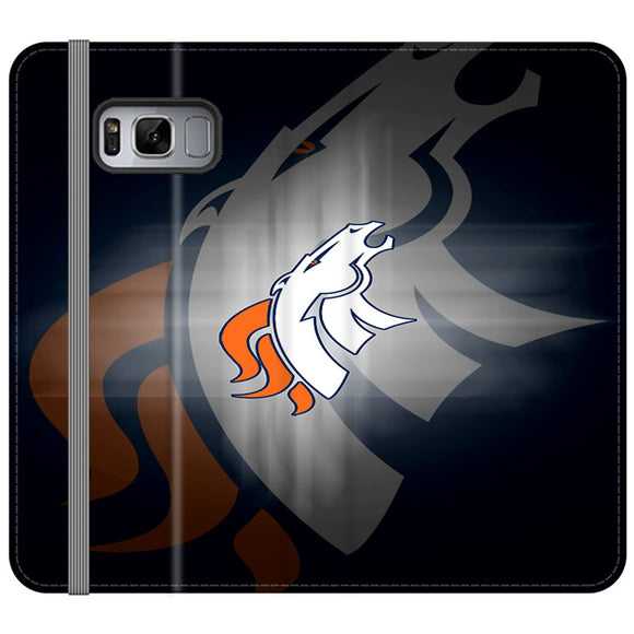 Denver Broncos Emblem And Silhouette Flag Samsung Galaxy S8 Plus Flip Case | Frostedcase