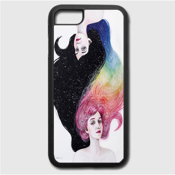 Drawing Girl With Colors iPhone 7 Case | Frostedcase