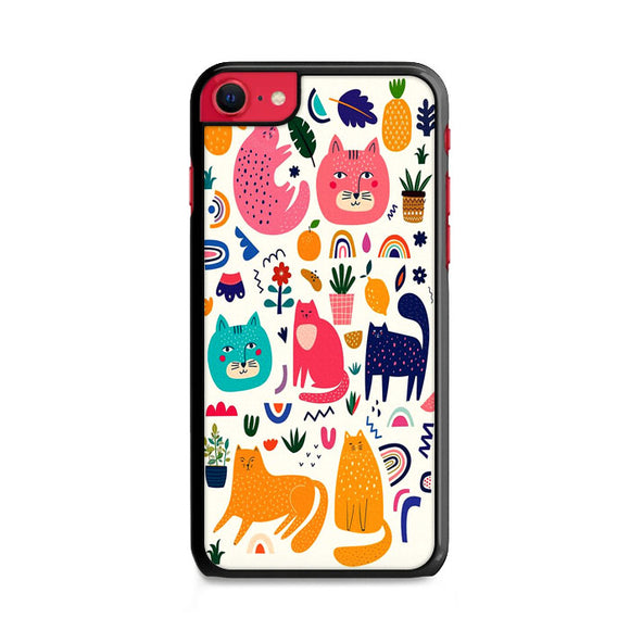 Funny Cat And Fruits Pattern iPhone SE Case | Frostedcase