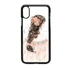 Girl Sketch Tumblr Colorful iPhone X Case | Frostedcase