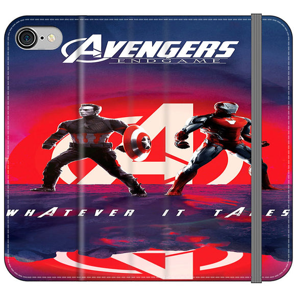 Iron Man X Captain America Avengers Endgame Poster iPhone 8 Flip Case | Frostedcase