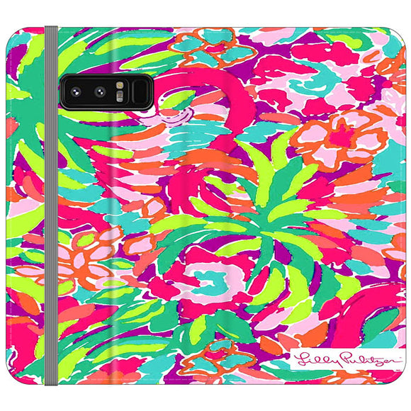 Lilly Pulitzer Flamingo Draw Samsung Galaxy Note 8 Flip Case | Frostedcase