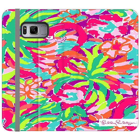 Lilly Pulitzer Flamingo Draw Samsung Galaxy S8 Plus Flip Case | Frostedcase