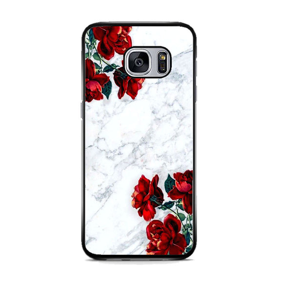 Marble With Roses Samsung Galaxy S7 Case | Frostedcase