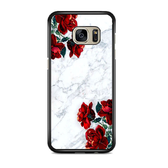 Marble With Roses Samsung Galaxy S7 EDGE Case | Frostedcase