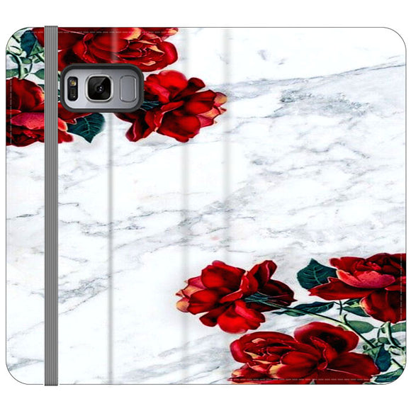 Marble With Roses Samsung Galaxy S8 Flip Case | Frostedcase