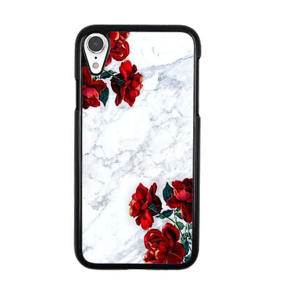 Marble With Roses iPhone XR Case | Frostedcase