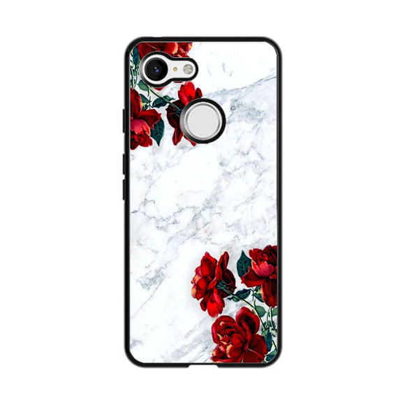 Marble With Roses Google Pixel 3 Case | Frostedcase