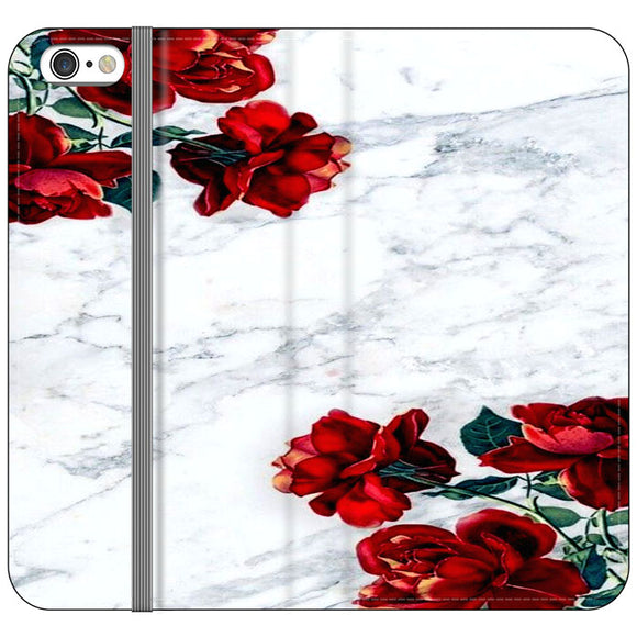 Marble With Roses iPhone 6 Plus|6S Plus Flip Case | Frostedcase