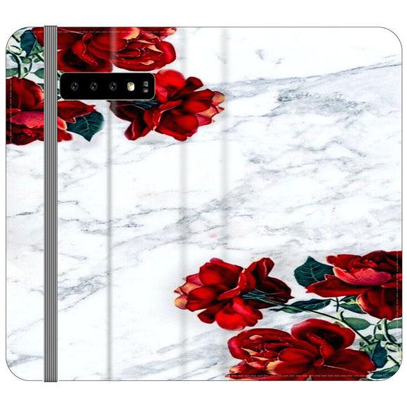 Marble With Roses Samsung Galaxy S10 Flip Case | Frostedcase