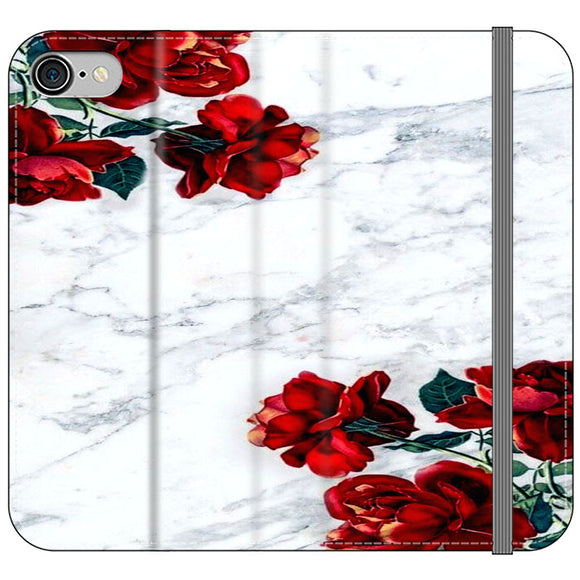 Marble With Roses iPhone 8 Flip Case | Frostedcase