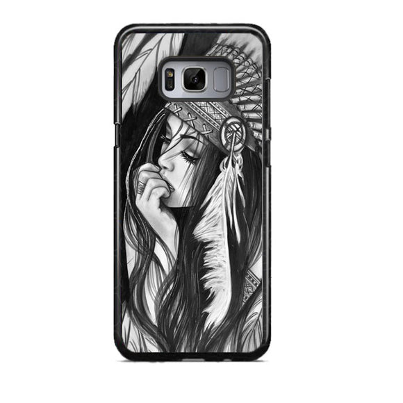 native american girl drawing Samsung Galaxy S8 Case | Frostedcase