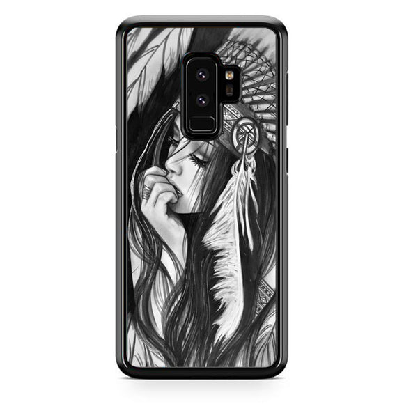 Native American Girl Drawing Samsung Galaxy S9 Plus Case | Frostedcase