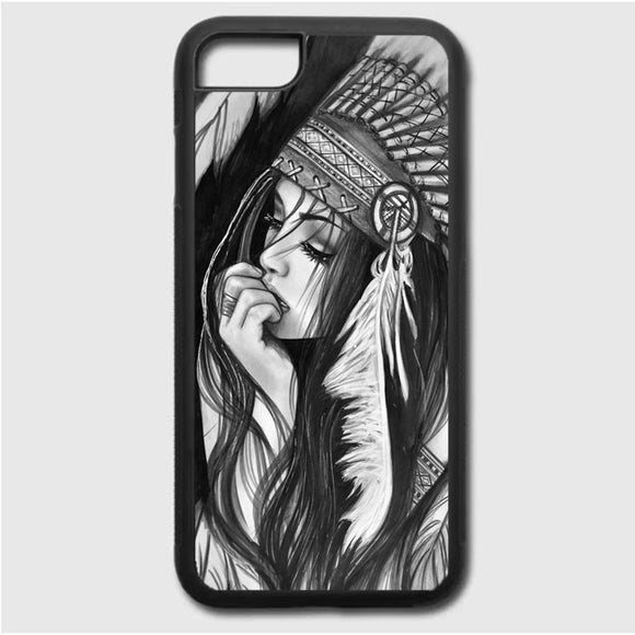 Native American Girl Drawing iPhone 7 Case | Frostedcase