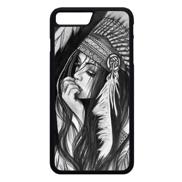 Native American Girl Drawing iPhone 7 Plus Case | Frostedcase