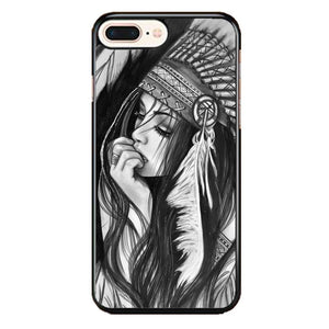 Native American Girl Drawing iPhone 8 Plus Case | Frostedcase
