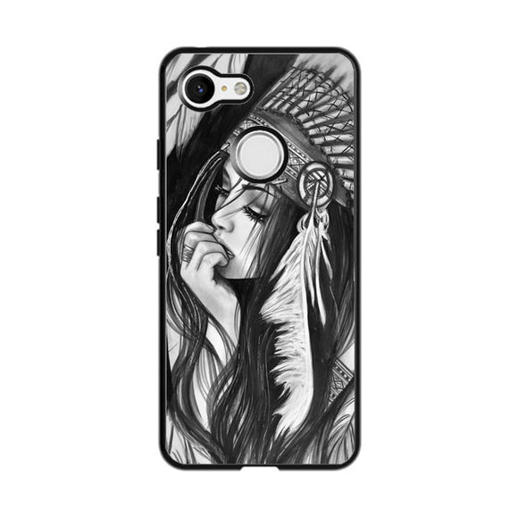 Native American Girl Drawing Google Pixel 3 Case | Frostedcase