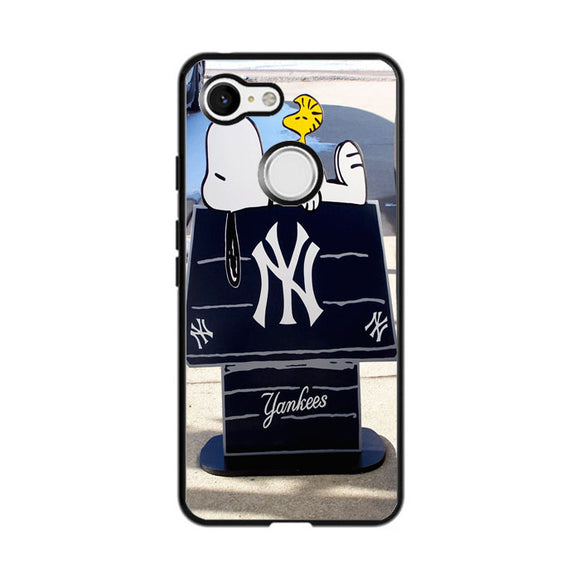 New York Yankees Logos And Uniforms Snoopy Google Pixel 3 Case | Frostedcase