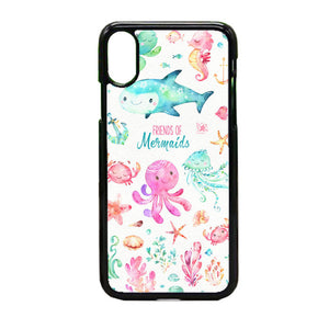 Sea Animals Watercolor Pink iPhone X Case | Frostedcase