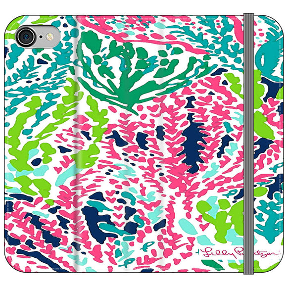 Seaweed Pattern Art Lilly Pulitzer iPhone 7 Flip Case | Frostedcase