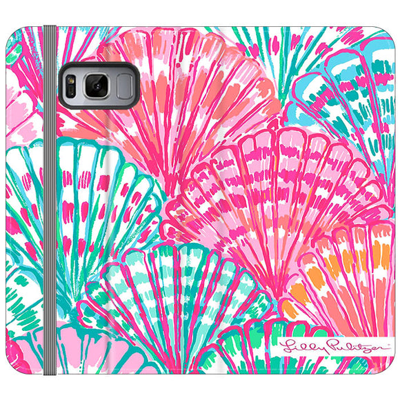 Shell Pattern Lilly Pulitzer Samsung Galaxy S8 Flip Case | Frostedcase