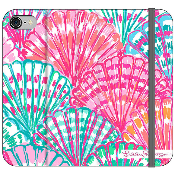Shell Pattern Lilly Pulitzer iPhone 7 Flip Case | Frostedcase