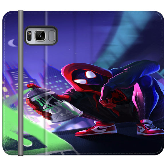 Spider Man Miles Morales Spray Paint Mural Samsung Galaxy S8 Flip Case | Frostedcase