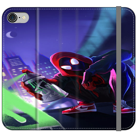 Spider Man Miles Morales Spray Paint Mural iPhone 8 Flip Case | Frostedcase
