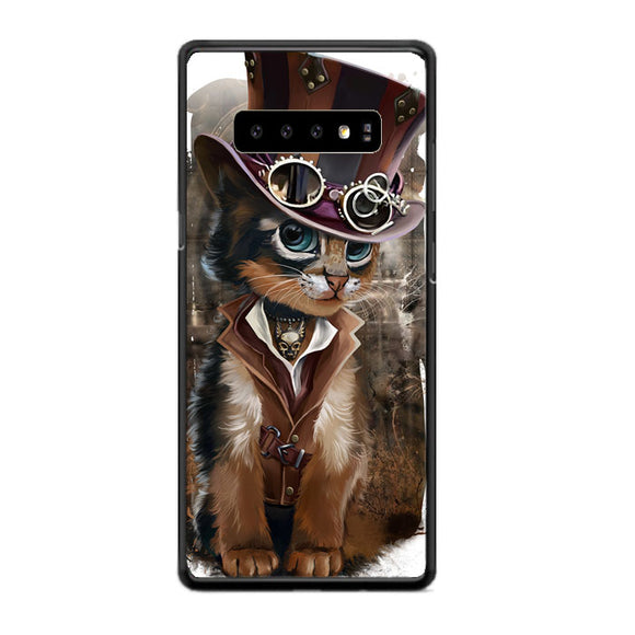 Steampunk Cat Samsung Galaxy S10 Plus Case | Frostedcase