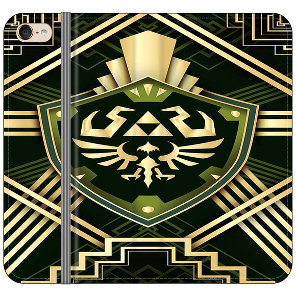 The Legend Of Zelda Shield Green Gold iPod 6 Flip Case | Frostedcase