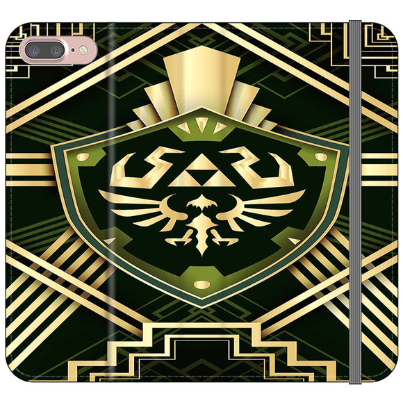 The Legend Of Zelda Shield Green Gold iPhone 7 Plus Flip Case | Frostedcase