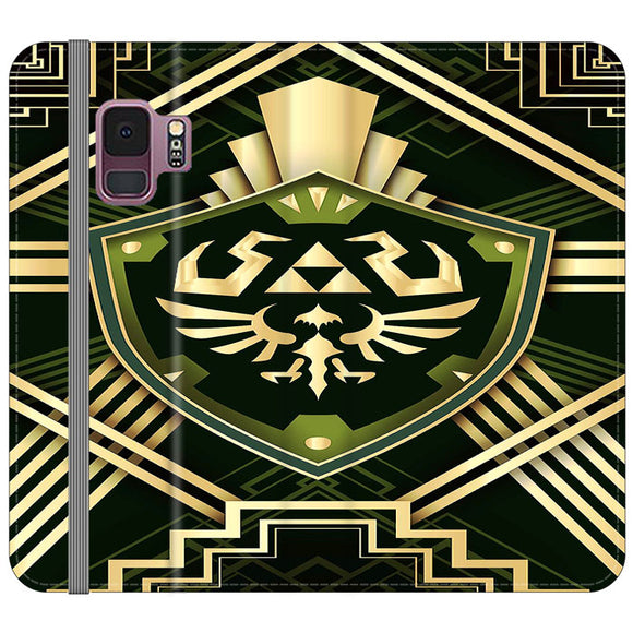 The Legend Of Zelda Shield Green Gold Samsung Galaxy S9 Flip Case | Frostedcase