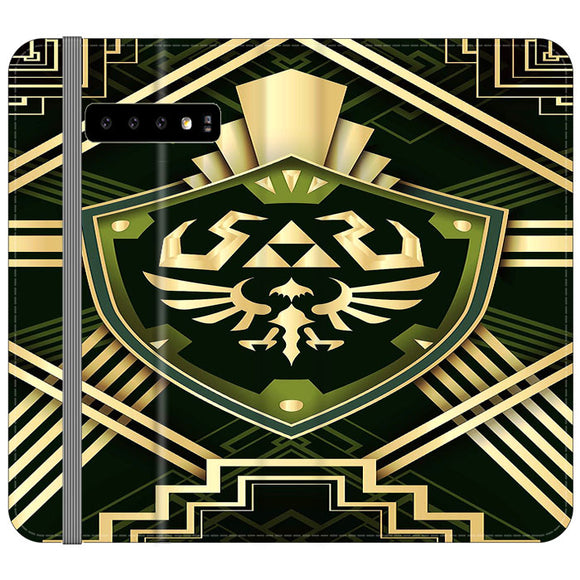The Legend Of Zelda Shield Green Gold Samsung Galaxy S10e Flip Case | Frostedcase