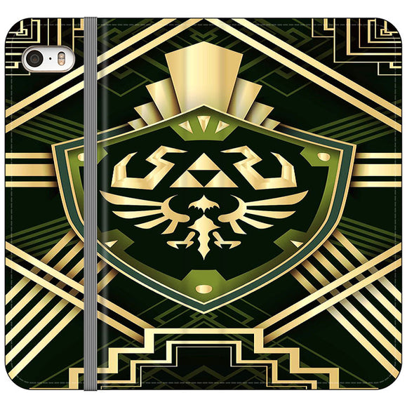 The Legend Of Zelda Shield Green Gold iPhone 5|5S|SE Flip Case | Frostedcase