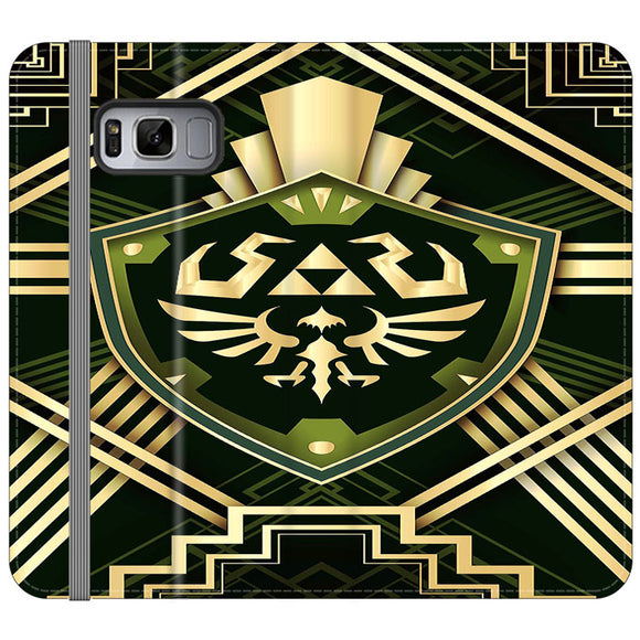 The Legend Of Zelda Shield Green Gold Samsung Galaxy S8 Flip Case | Frostedcase