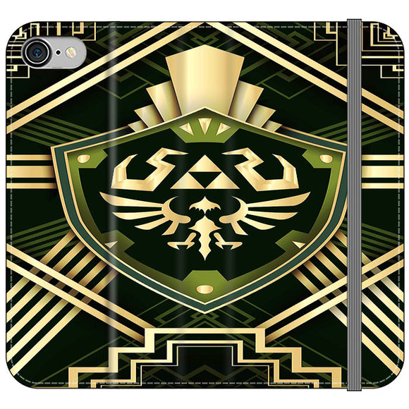The Legend Of Zelda Shield Green Gold iPhone 8 Flip Case | Frostedcase