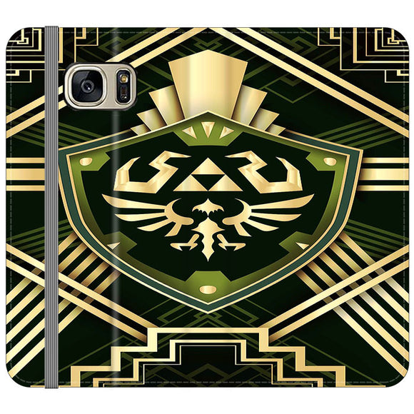The Legend Of Zelda Shield Green Gold Samsung Galaxy S7 EDGE Flip Case | Frostedcase