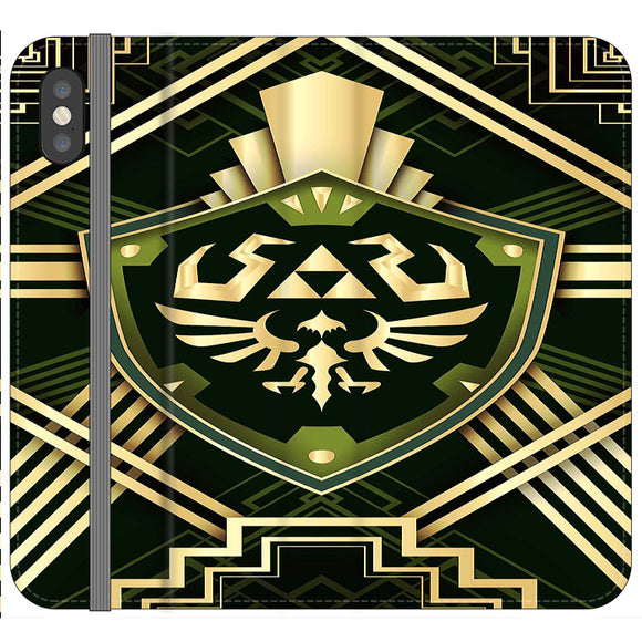 The Legend Of Zelda Shield Green Gold iPhone XS Flip Case | Frostedcase