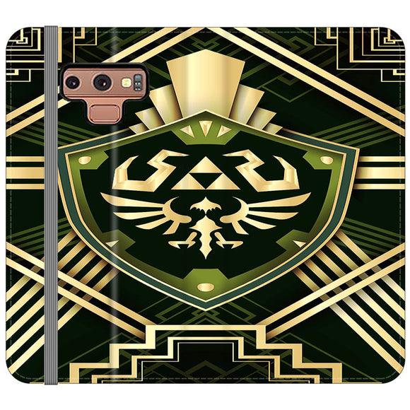 The Legend Of Zelda Shield Green Gold Samsung Galaxy Note 9 Flip Case | Frostedcase